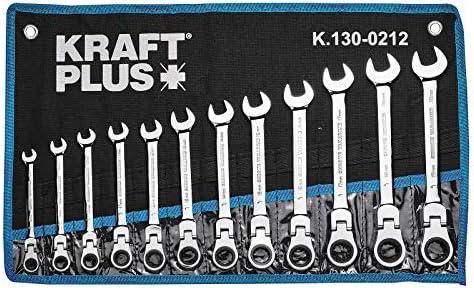 KRAFTPLUS/® K.130-9512 Juego de llaves combinadas articuladas con trinquete 8-19 mm llave de boca 12 piezas