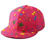primerry Unisex Leisure Cotton Multicolor Five-Pointed Star Hip-Hop Baseball Cap Hat (Rose Red)