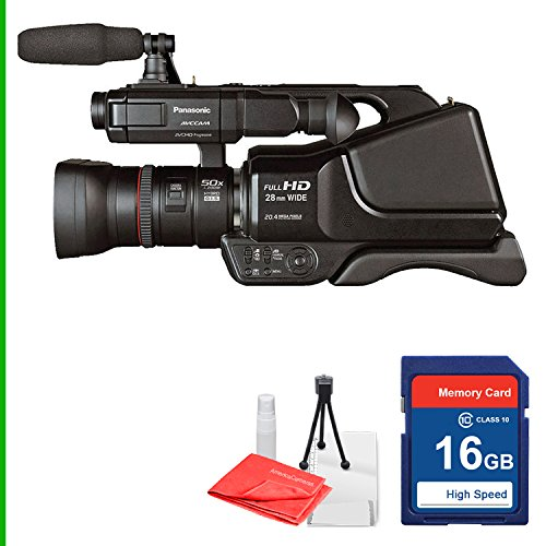 Panasonic AG-AC8PJ AVCCAM Camcorder 16GB SD Class 10 Memory Card, Table Top Tripod, Lens Cleaning Kit and Screen Protector