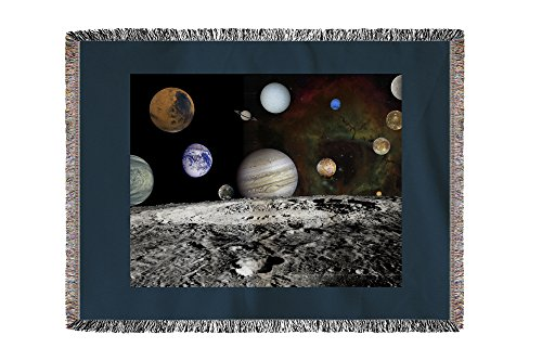 Solar System Montage of Voyager Images - Vintage Photograph (60x80 Woven Chenille Yarn Blanket) by Lantern Press