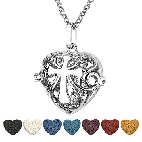 Top Plaza Aromatherapy Essential Oil Diffuser Necklace Antique Silver Heart Shape Locket Pendant With 7 Dyed Lava Rock(Hollow Cross)