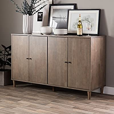 Modern Farmhouse Buffet Suitable For Kitchen And Dining Areas, Living Rooms, Entryways. Storage Cabinet Table Features 2 Cupboards With Adjustable Shelves. Rustic Wood Sideboard Creates Timeless Feel. - MODERN FARMHOUSE BUFFET: Classic look enhances your home decor with style. WOOD TOP: Spacious rectangular table top easily accommodates your needs. STORAGE: Two cabinets with four doors and four adjustable shelves for enclosed storage. - sideboards-buffets, kitchen-dining-room-furniture, kitchen-dining-room - 51hcxYtAUFL. SS400  -