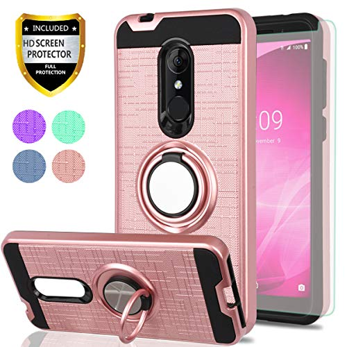 Alcatel 3 Case, T-Mobile Revvl 2 Case, Alcatel REVVL 2 5052W Case with HD Screen Protector, YmhxcY 360 Degree Rotating Ring & Bracket Dual Layer Shock Bumper Cover for Alcatel 3 (5.5