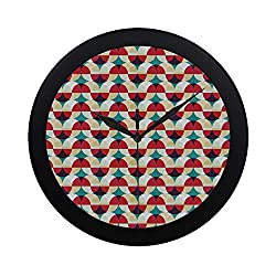 C COABALLA Vintage Circular Plastic Wall Clock,Retro Geometrical Modern Design with Circles and Rounds Art for Home,9.65 D