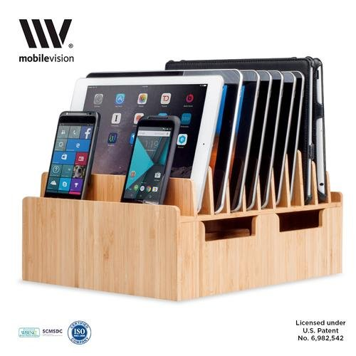 MobileVision Bamboo 10-Port Charging Station & Docking Organizer for Smartphones & Tablets, Family-Sized, for use in Corporate Offices & Classrooms by MobileVision