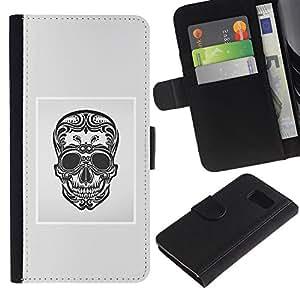 ZCell / Samsung Galaxy S6 / Black White Grey Skull Death Floral / Caso Shell Armor Funda Case Cover Wallet / Negro blanco gris cráneo muer