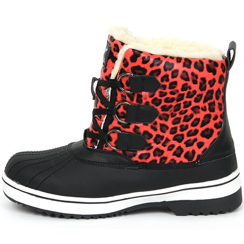 Nieuwe Trendy Lace Up Shearling Womens Winter Snow Warm Colorful Boots Shoes Red