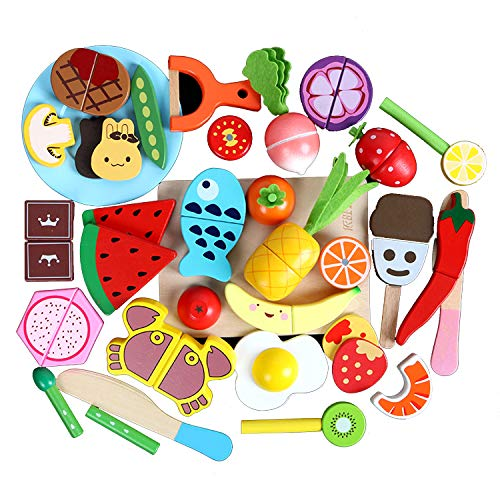 30 Pieces Set Pretend Play Wooden Food, Cutting Cooking Food Toy, Pretend Play Set Educational Toy Fruits Vegetables for Children Learning Gift for 2, 3, 4 Year Old Boys & Girls (Random Style) from Fstop Labs