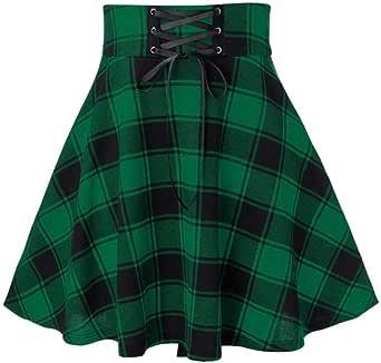 XFKLJ Black Checkered Skirt Women's Gothic Skirt Women Pleated Plaid Skirts Spring Autumn Girl Hip Hop Female Punk Goth Mini Skirt Clubwear