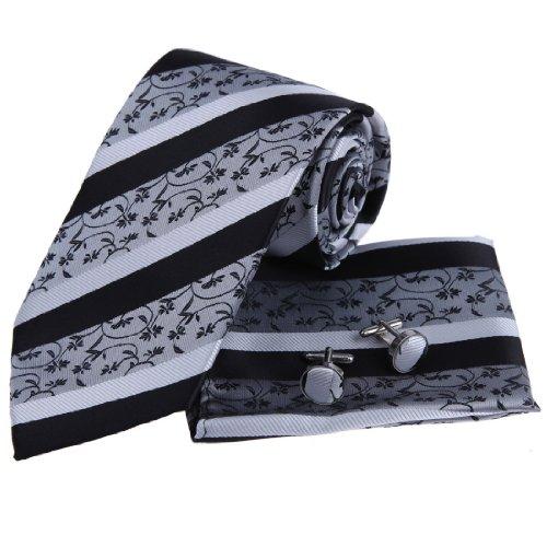 Italian Style Grey Black Pattern Woven Silk Tie Hanky Neck Tie for Men and Handkerchiefs Set with Presentation Box PH1024 One Size Silver,Black