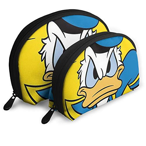 - JINUNNU Makeup Bag Running Donald Duck Cosmetic Pouch Clutch Portable Bags Handbag Organizer with Zipper 2Pcs