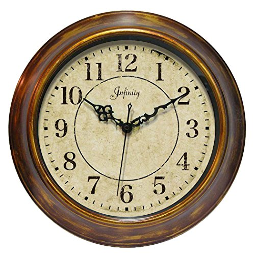14 inch Bronzed Copper Wall Clock The Keeler by Infinity Instruments Distressed Bronzed Metal