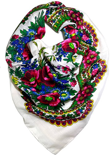 [Traditional Polish Folk Head Scarf - Ukrainian Cotton Collection, White] (Traditional Russian Outfits)