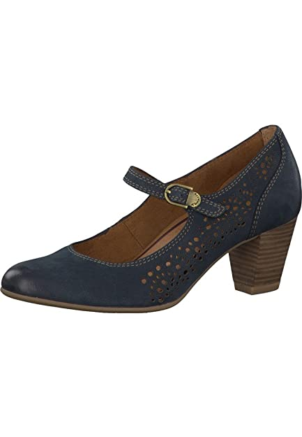 fe8f6943 Tamaris Pumps Leather Riemchenpumps blue with AntiShokk paragraph and TOUCH  IT sole 1-24411-