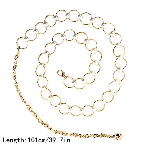 EDITHA Womens Metal Chain Belt Dress Accessory Decorated Skinny Waist Fashion BeltWaistband /…