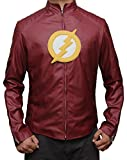 Mens Flash Red Leather Shield Jacket M