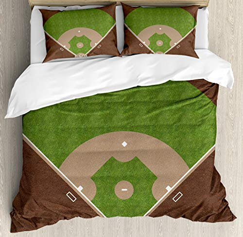Lunarable Sports Duvet Cover Set, American Baseball Field with White Markings Painted on Grass Print, Decorative 3 Piece Bedding Set with 2 Pillow Shams, Queen Size, Lime Green
