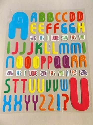 1 hoja de tamaño extra grande (#1) multicolor letras y ...