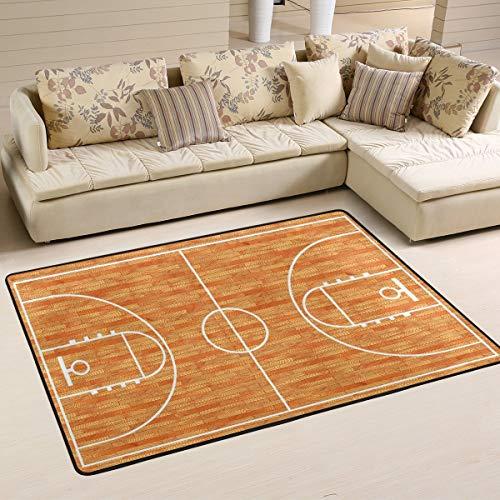 Libaoge Area Rugs - Durable, Soft Carpet - Wooden Basketball Court Indoor Flooring Rug Doormat for Living Room Bedroom | Play Mat for Children/Kids/Nursery/Boys/Girls - 3'x2' - Large Basketball Court Runner
