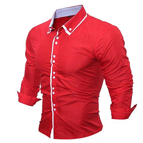 Uomo Fit Camicia Manica Formale Casual Top Slim Solido Camicetta Primavera Lunga Rosso 8RxIqrw8