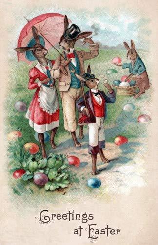 1904 Easter Art~Dressed Bunny Rabbit Family Takes a Stroll Among Eggs~6 pack NEW Matte Vintage Picture Large Blank Note Cards with Envelopes