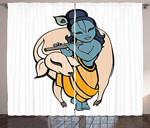 BABE MAPS Sacred Kitchen Room Darkening Curtains Religious Character Playing Flute with a Bull Asian Traditional Boho Illustration Blackout Room Darkening Draperies 104 W X 84 L Inch