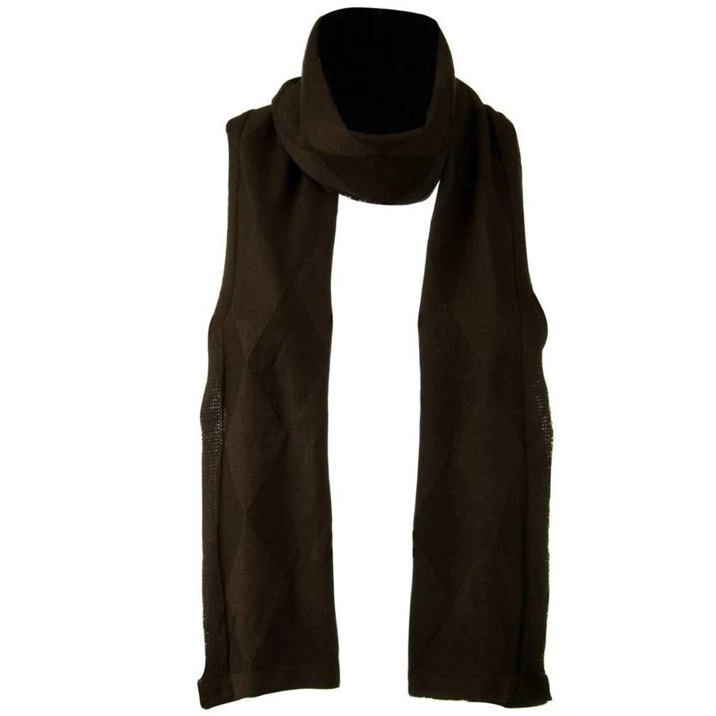 Flat Knit Solid Argyle Muffler - Brown