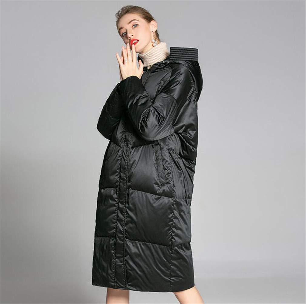 ELEGENCE-Z Frauen Daunenmantel Daunen, schwarz hohe Qualität Einfacher Langer Abschnitt Kälteschutz Weiße Entendaunen Daunenjacke