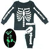 D-Sun Baby Kids Luminous Skull Skeleton Ghost Hip-hop Costumes Suit (12M, Black)