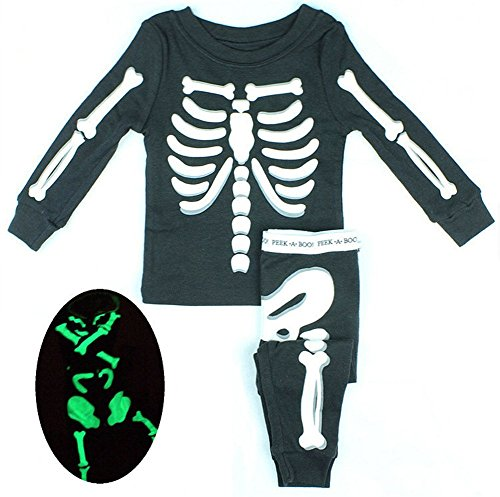 D-Sun Baby Kids Luminous Skull Skeleton Ghost Hip-hop Costumes Suit (12M, Black) by Meowstyle