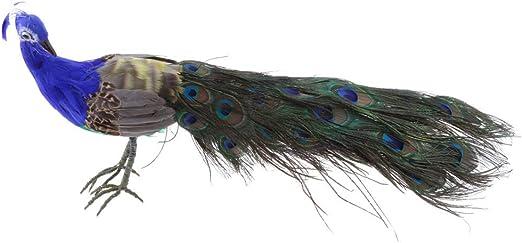 Figura decorativa de pavo real de Tenlacum, tamaño real, decoración de jardín de pájaros y pájaros, muy realista, muy detallada: Amazon.es: Jardín