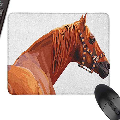 Small Mouse Pad Animal Race Jokey Horse Pure Noble Animal Ride Hobby Nature Vehicle Artwork Paint with Stitched Edge,9.8