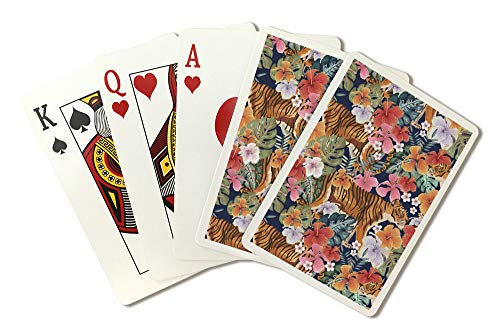 Tigers and Flowers - Seamless Vector Pattern (Playing Card Deck - 52 Card Poker Size with Jokers) by Lantern Press