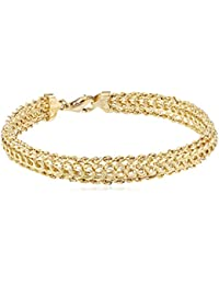 "14K Yellow Gold Braided Rope Bracelet, 7.25"""