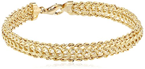14K Yellow Gold Braided Rope Bracelet, 7.25""