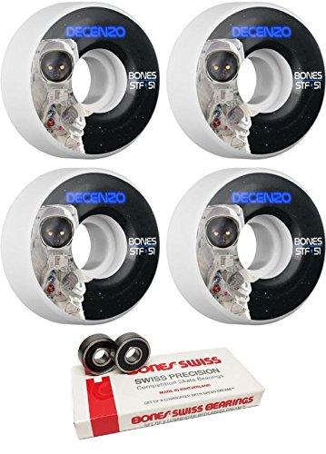 押す告白表現Bones Wheels 51 mm Pro STF CatstronautスケートボードWheels with Bones Bearings – 8 mm Bones Swiss Skateboard Bearings – 2アイテムのバンドル
