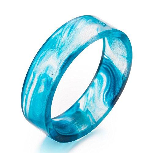 New Arrival Handmade Irregular Blue/Purple/Red Color Ink Pattern Transparent Resin/Plastic Women/Men's Charm Ring (1mm-Blue, 7)