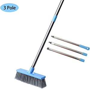 """Floor Scrub Brush with Long Handle - 48"""" Stiff Bristle Shower Deck Brush, Long Handled Grout Scrubbing Brushes for Cleaning Tile, Bathroom, Tub, Bathtub and Patio"""