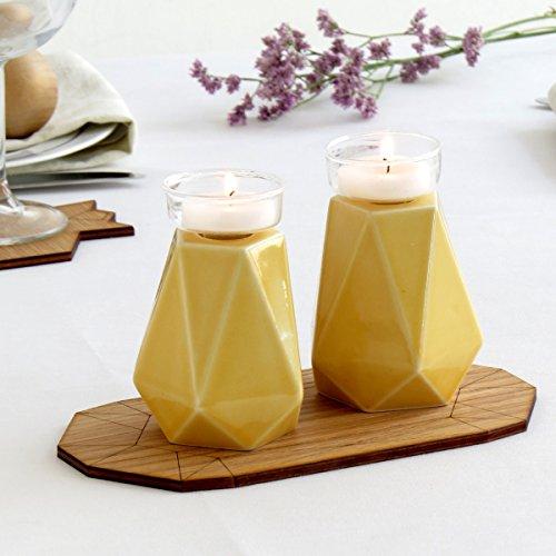 Passover Gift, Handmade Geometric Candle Holders, Pentagon Yellow Ceramic, Pair of Shabbat candlesticks, Trendy Bat Mitzvah Gift from - Pentagon Geometric