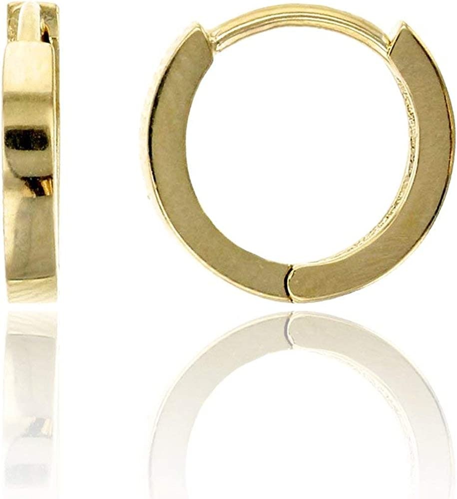 14K Yellow Solid Gold High Polished Plain Huggie Earrings | Plain Small Huggie Earrings | Various Sizes 1.20x9mm-3x11.5mm | Huggie Earrings | Solid Gold Stud Earrings for Women and Teens