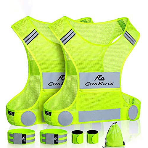 GoxRunx 2 Pack Reflective Vest Running Gear, Ultralight & Comfy Cycling Reflective Vests with Large Pocket & Adjustable Waist for Women Men, Night Runner Safety Vest + Hi Vis Armbands & Bag(Medium)