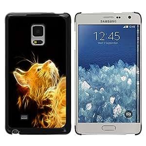 TECHCASE**Cubierta de la caja de protección la piel dura para el ** Samsung Galaxy Mega 5.8 9150 9152 ** Cat Fire Ginger Yellow Furry Magic Mythical