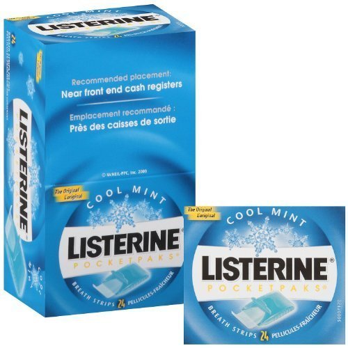 Listerine Pocket Paks Oral Care Breath Strips (Cool Mint), Kills Germs for Fresh Breath - 12 Packs (24 strips per pack)