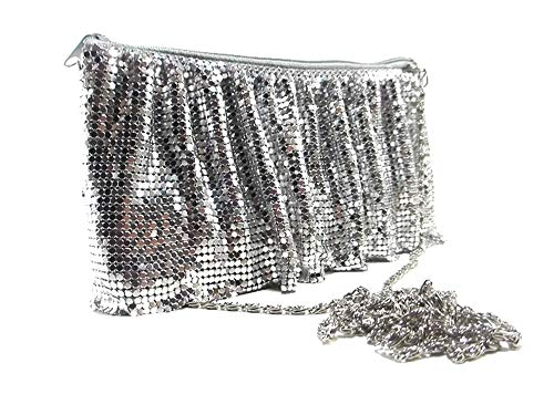 Womens Evening Clutch Metal Mesh purses handbags with shoulder chain strap for Coctail Party Prom Wedding ()