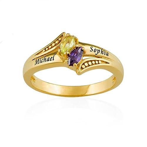 Amazon.com: Parejas anillo de promesa – personalizado ...