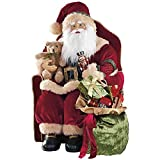 30'' Traditional Red Velvet Fabric Sitting Christmas Santa Luxury Statue Figure