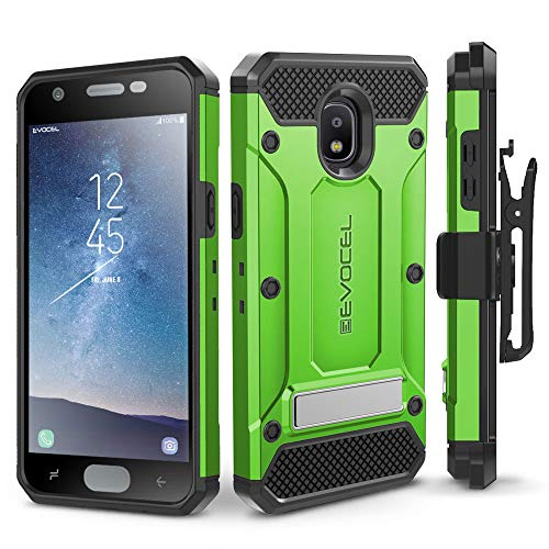 Evocel Explorer Series Pro Compatible with Galaxy J3 2018/ J3 V 3rd Gen/Express Prime 3/ J3 Achieve/ J3 Star/Amp Prime 3 Heavy Duty Protection Case w/Tempered Glass, Holster, Kickstand - Green
