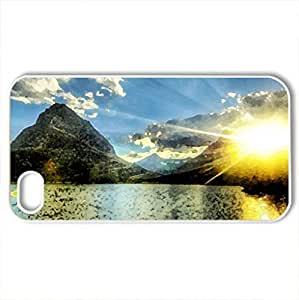 Beautiful Mountain In Spring - Case Cover for iPhone 4 and 4s (Mountains Series, Watercolor style, White)