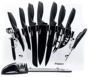 Kitchen Chef Knife Set with Sharpener - 17 Piece Set - Chefs, Cheese Knife Sharpener, Scissors & Six Steak Knives in Acrylic Knife Block. Home Decor by Kitchen Precision