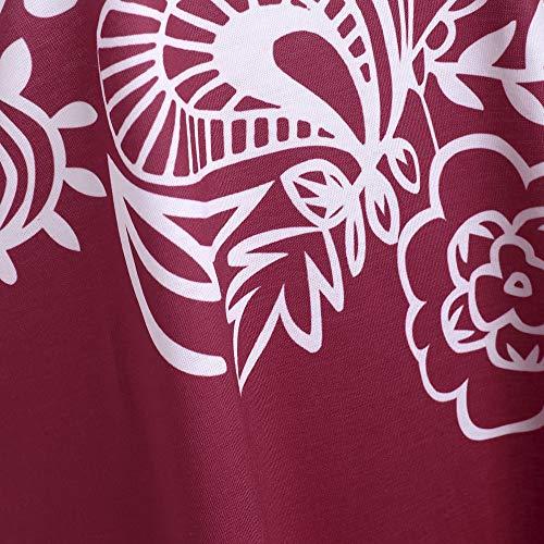 Elegante a Pendenza Donna T Maglie Lunga Manica Cucitura Maglietta Rotondo Pizzo Stampa Tunica Collo Tee Shirt Bluse Vino e OUFour Autunno Rosso Primavera Top wAqnPaHa